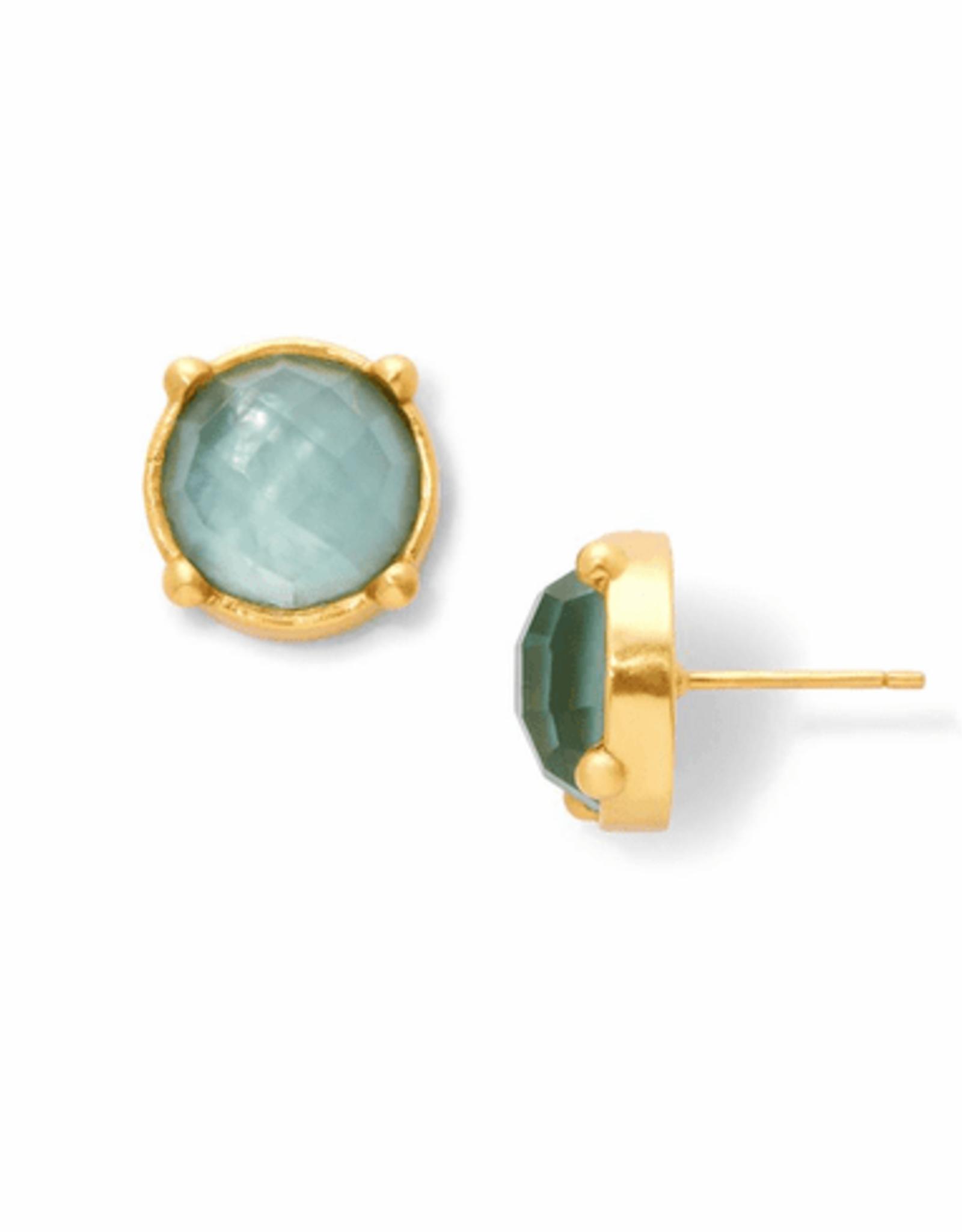 Julie Vos Honey Stud Gold Iridescent Aquamarine Blue