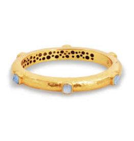 Julie Vos Catalina Hingle Bangle Gold Iridescent Chalcedony