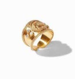 Julie Vos Coin Ring Gold CZ - Size 7 (Adjustable)