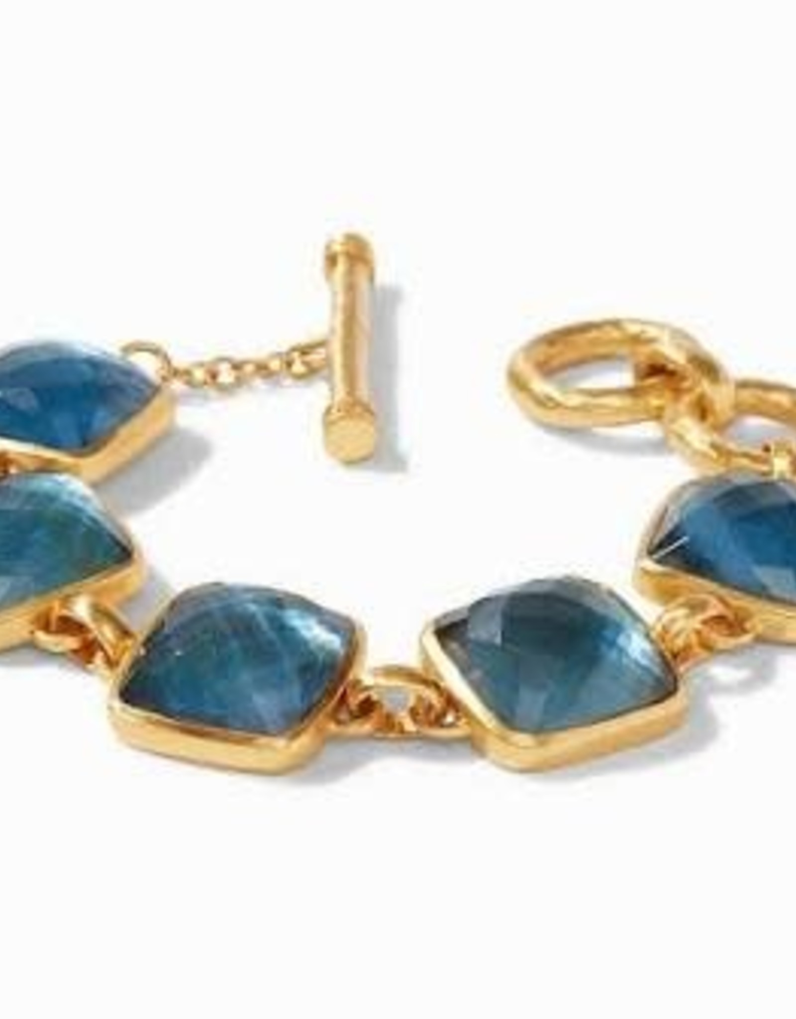 Julie Vos Catalina Bracelet Gold Iridescent Azure Blue with Pearl Accents