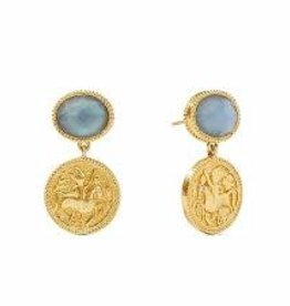 Julie Vos Coin Midi Earrings Gold Iridescent Ice Blue