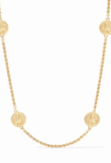 Julie Vos Coin Station Necklace Gold CZ Accents
