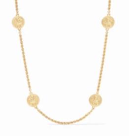 Julie Vos Coin Station Necklace Gold CZ Accents
