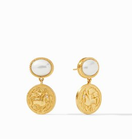 Julie Vos Coin Midi Earrings Gold Pearl