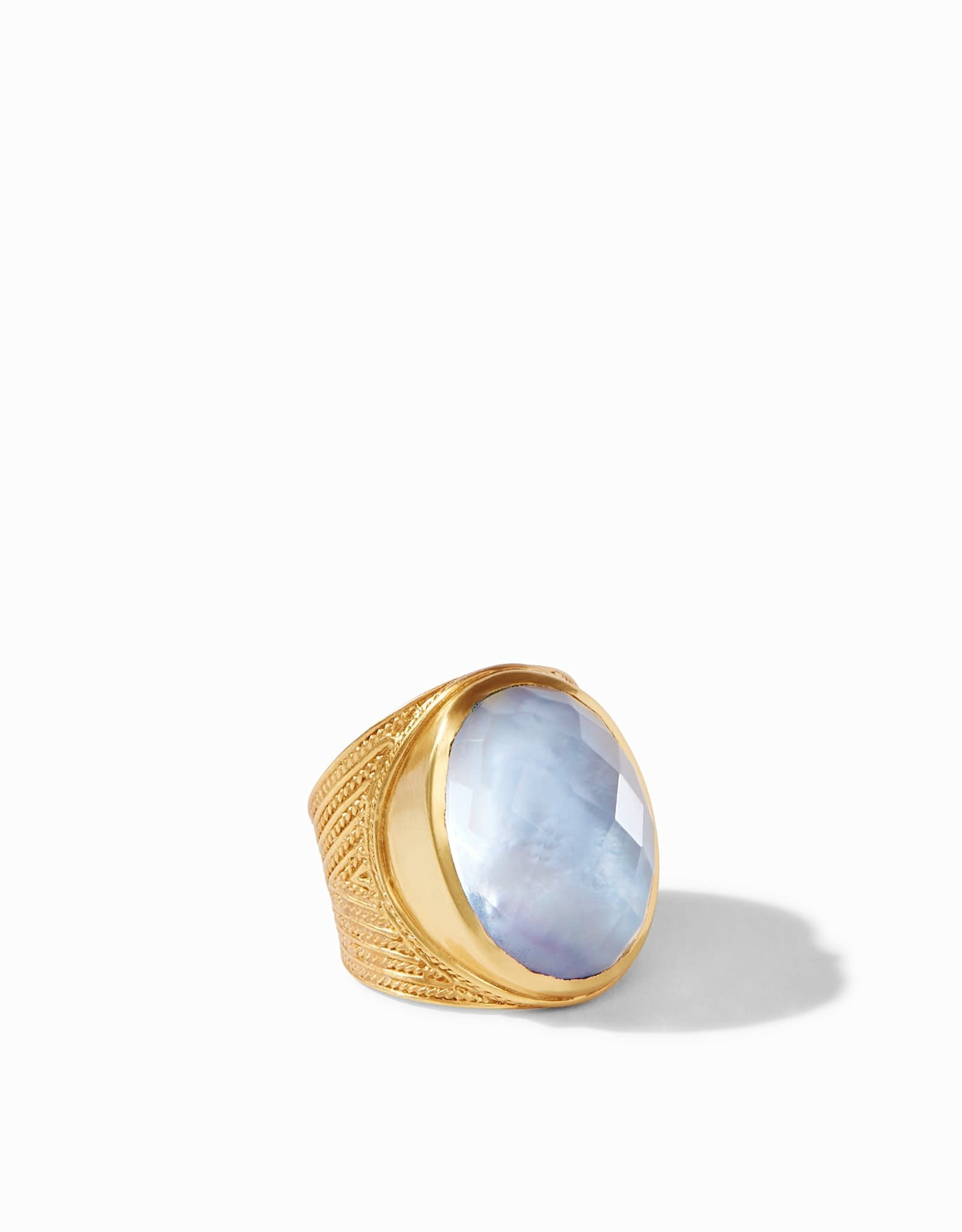 Julie Vos Verona Statement Ring Gold Iridescent Ice Blue - Size  (Adjustable)