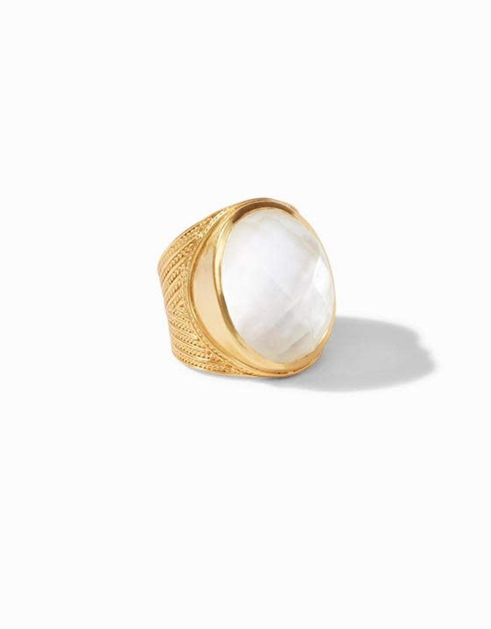 Julie Vos Verona Statement Ring Gold Iridescent Clear Crystal - Size 8 (Adjustable)