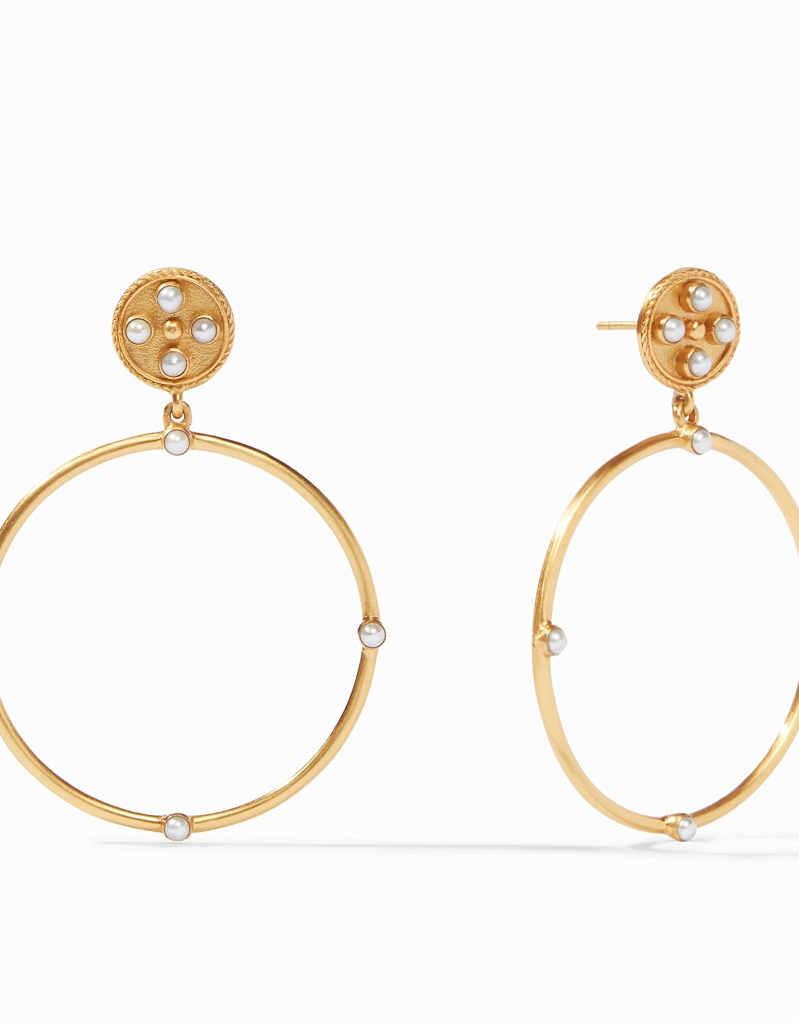 Julie Vos Paris Statement Earrings Gold Pearl