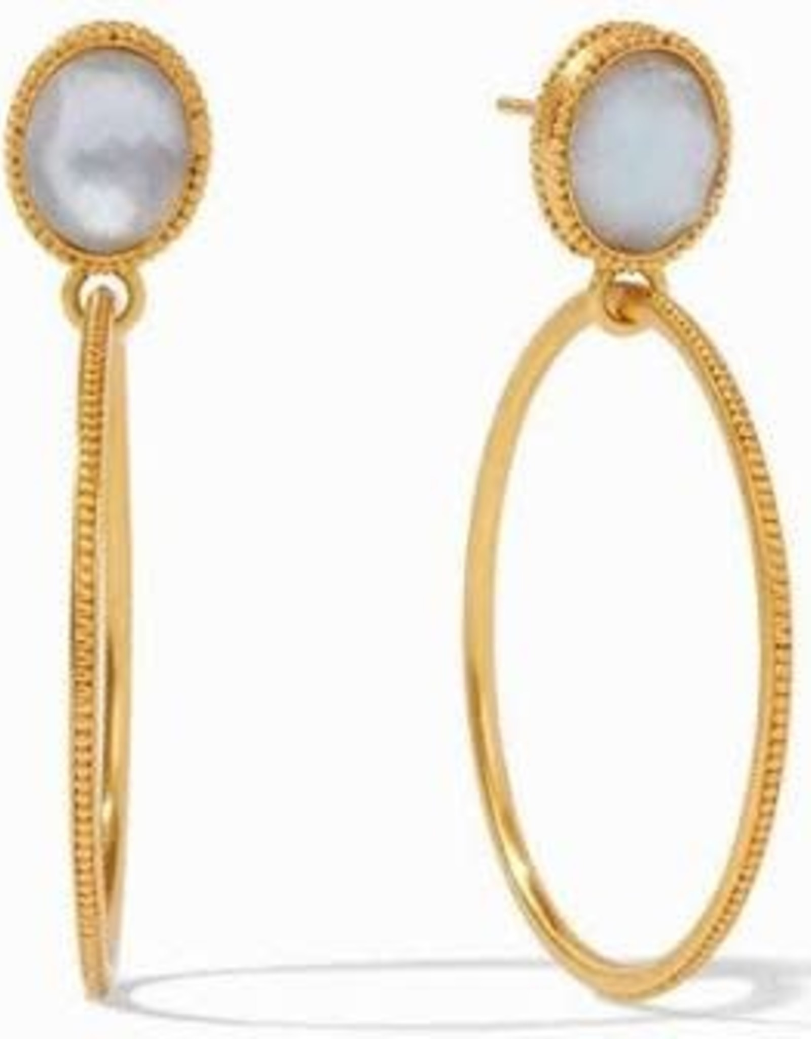 Julie Vos Verona Statement Earrings Gold Iridescent Chalcedony Blue