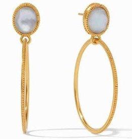 Julie Vos Verona Statement Earrings Gold Iridescent Chalcedony Blue