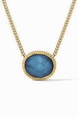 Julie Vos Verona Solitaire Necklace Gold Iridescent Azure Blue