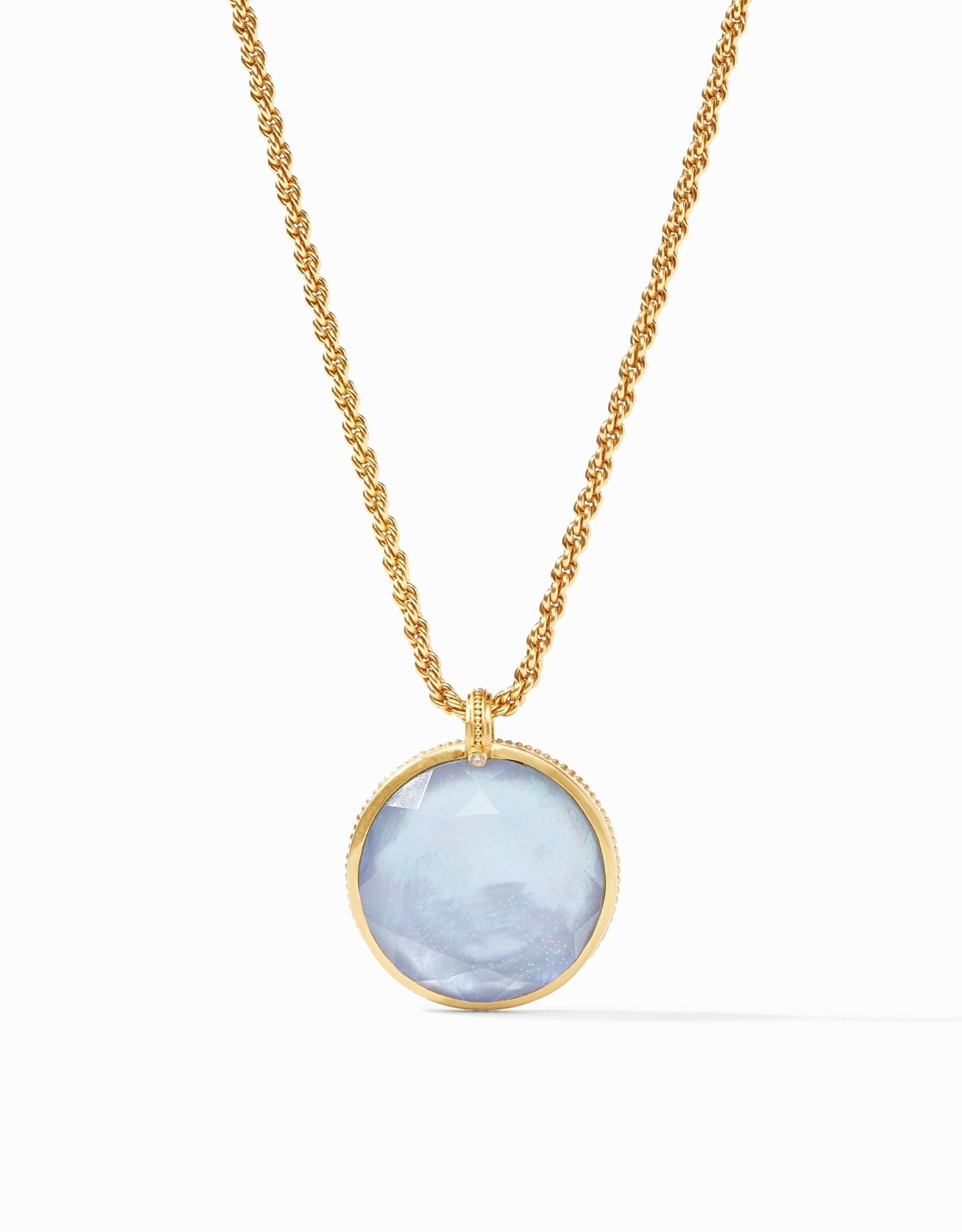 Julie Vos Coin Statement Pendant Gold Iridescent Iridescent Blue