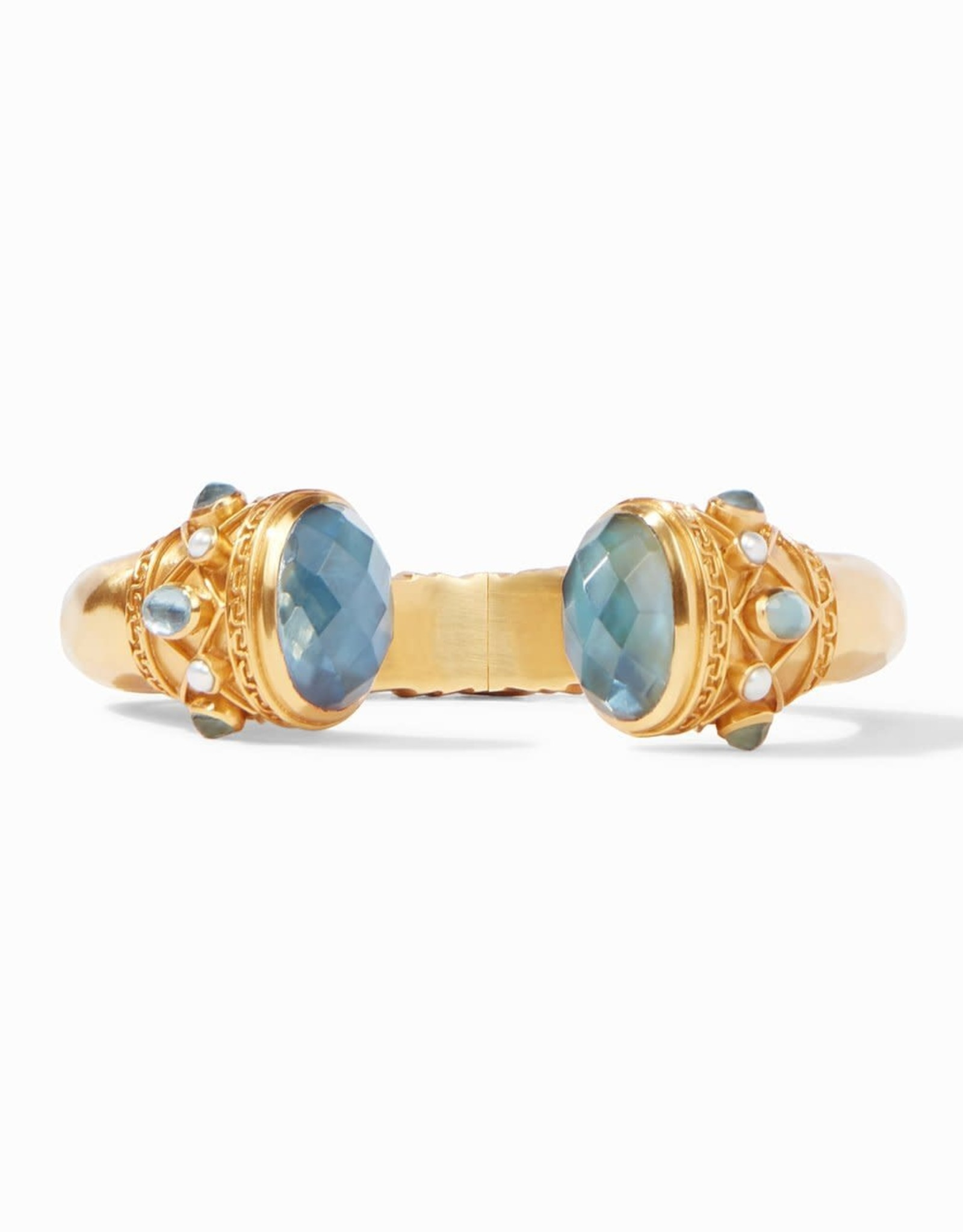 Julie Vos Savannah Hinge Cuff Gold Iridescent Azure Blue with Pearl Accents