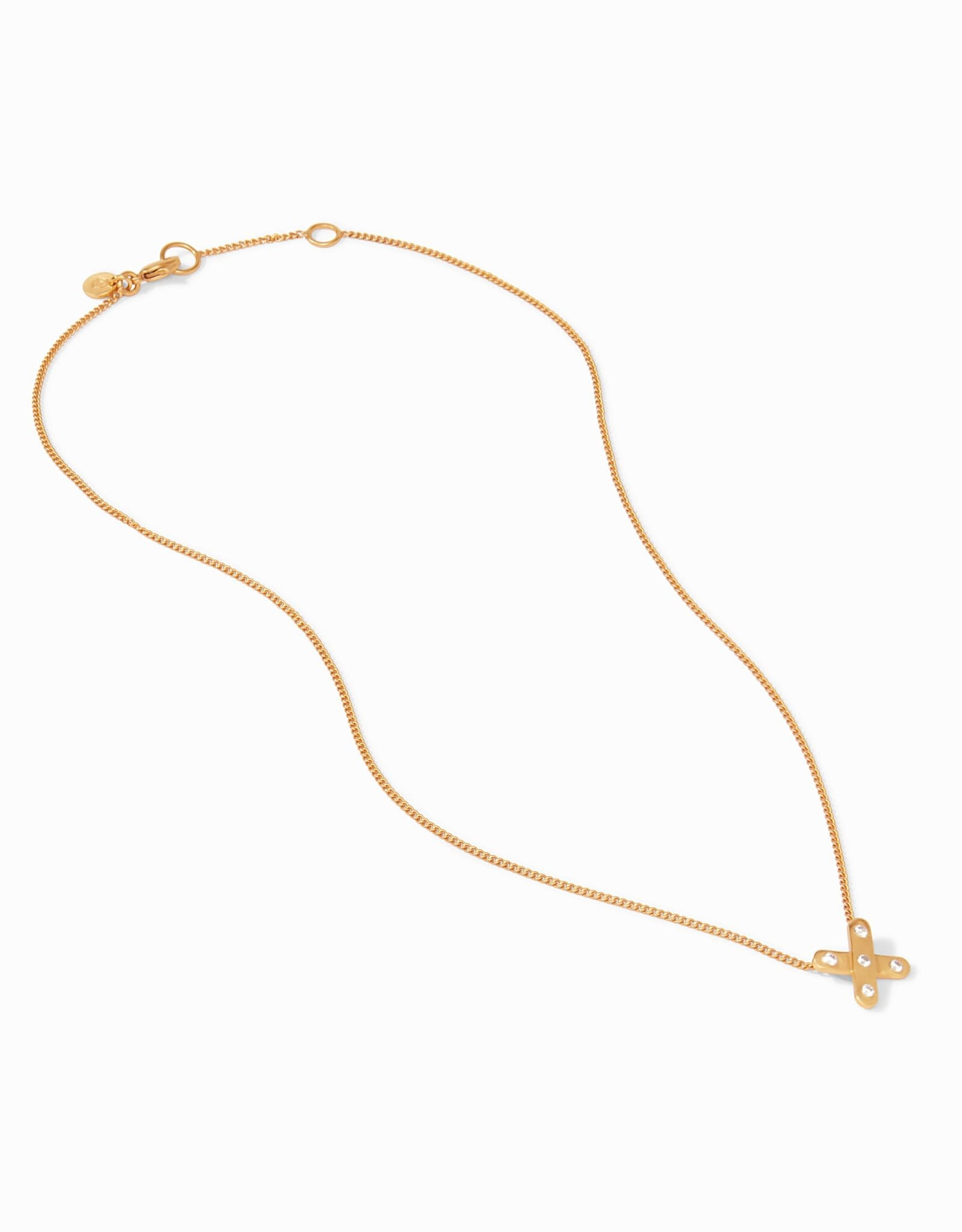 Julie Vos Paris X Charm Necklace Gold Pearl