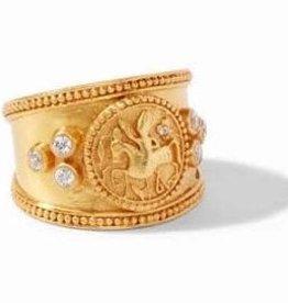 Julie Vos Coin Crest Ring Gold CZ- Size 8 (Adjustable)
