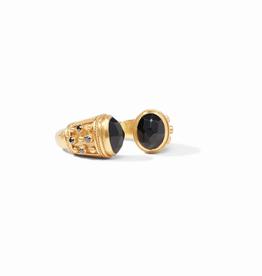 Julie Vos Paris Ring Gold Black Onyx Endcaps and Accents - Size 6/7