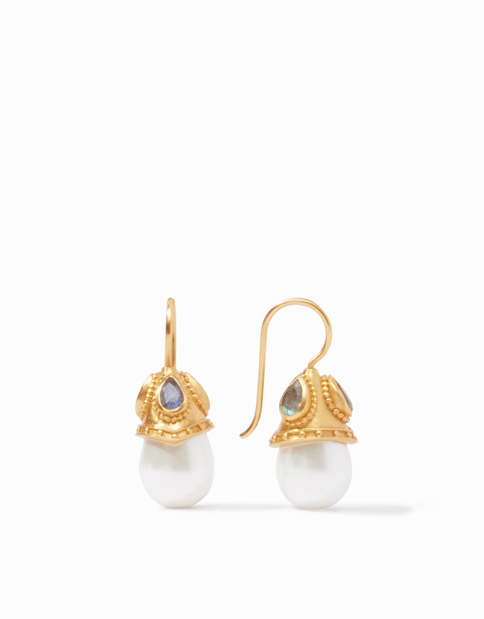 Julie Vos Baroque Demi Earring Gold Pearl with Labradorite Accents