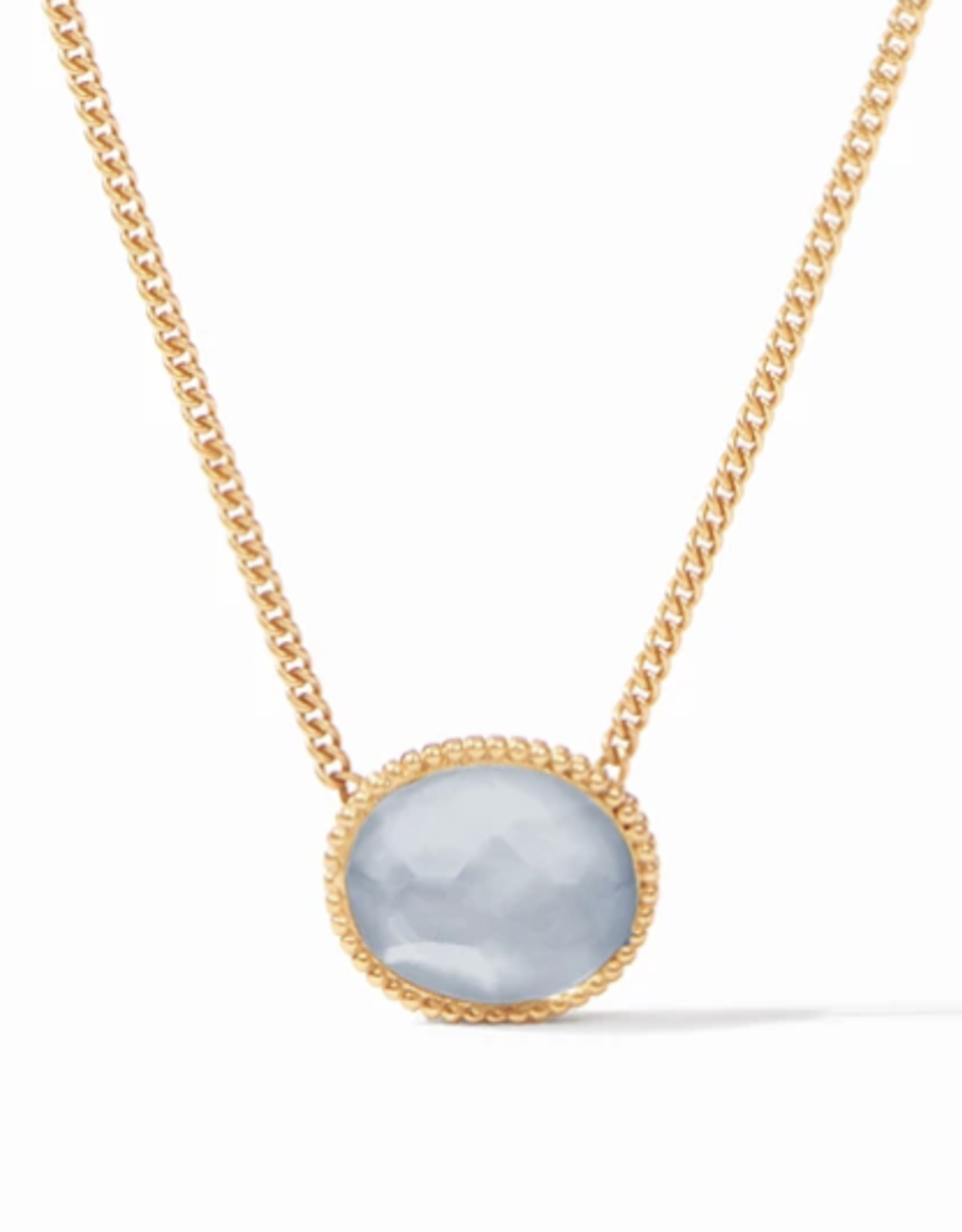 Julie Vos Verona Solitaire Necklace Iridescent Chalcedony Blue