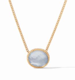 Julie Vos Verona Solitaire Necklace Iridescent Chalcedony Blue
