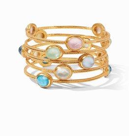 Julie Vos Calypso Bangle Gold Iridescent Clear Crystal - Medium
