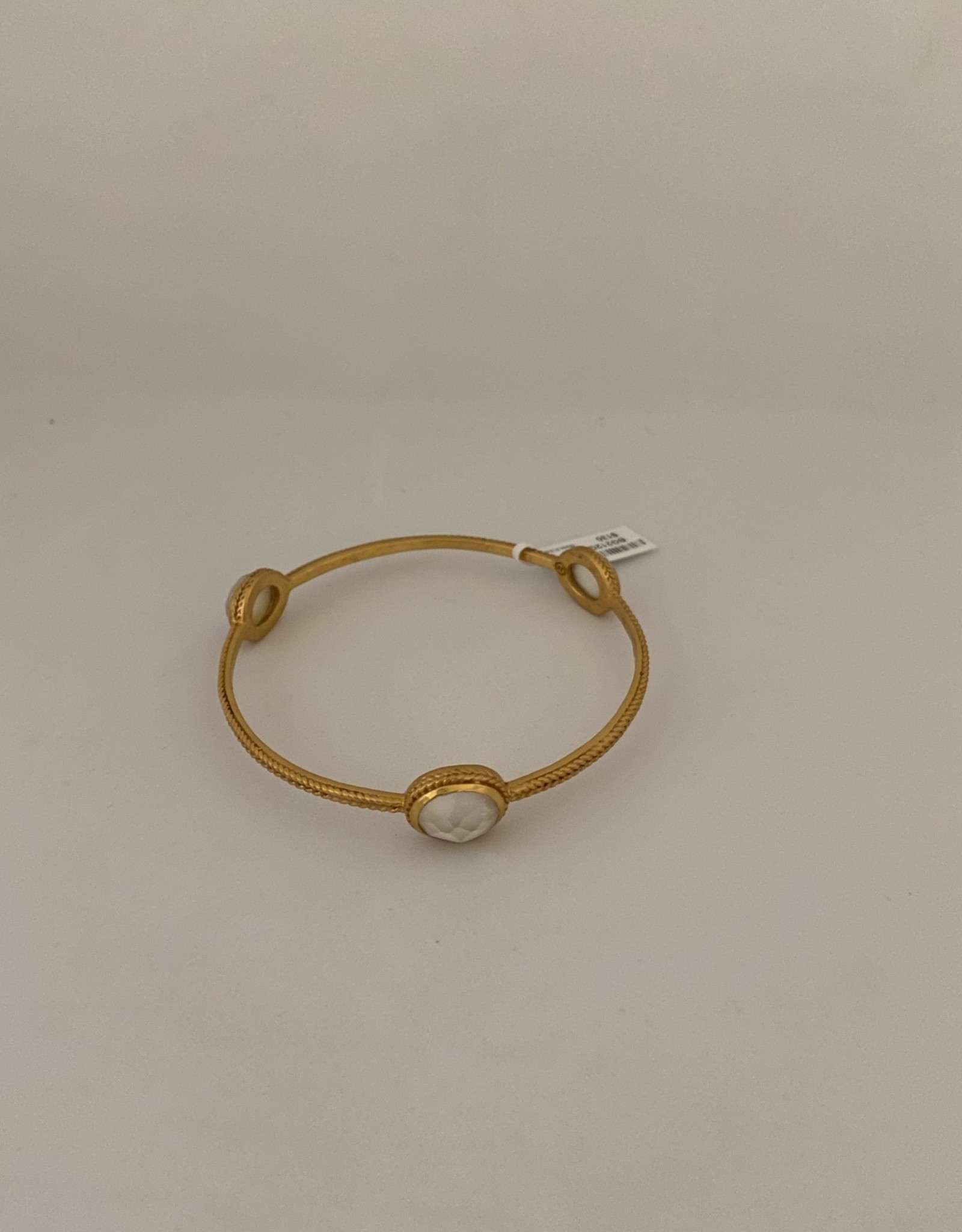 Julie Vos Calypso Bangle Gold Iridescent Clear Crystal - Medium
