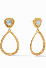 Julie Vos Barcelona Statement Earring Gold Iridescent Chalcedony Blue
