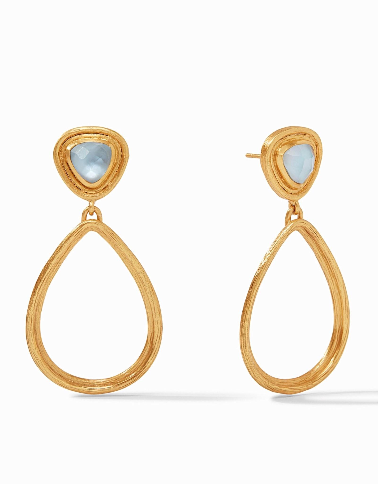 Julie Vos Barcelona Statement Earring Gold Iridescent Chalcedony Blue