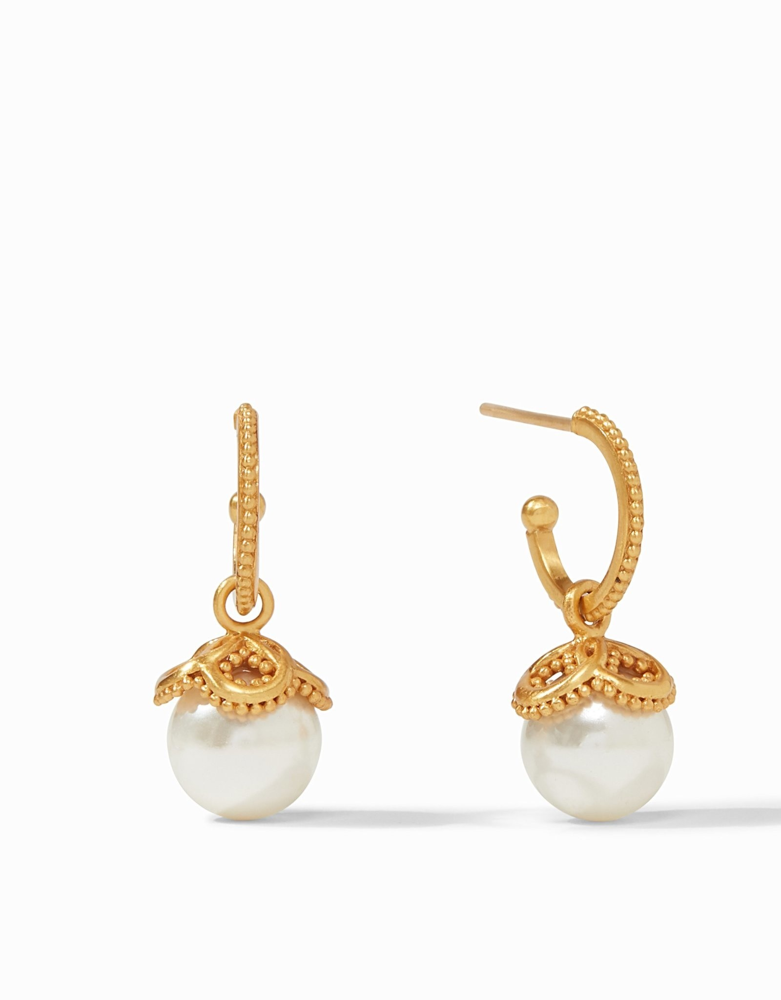 Julie Vos Chloe Pearl Hoop & Charm Earring Gold