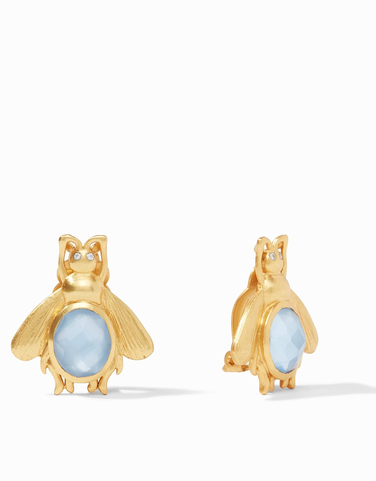 Julie Vos Bee Stone Earring Gold Iridescent Chalcedony Blue