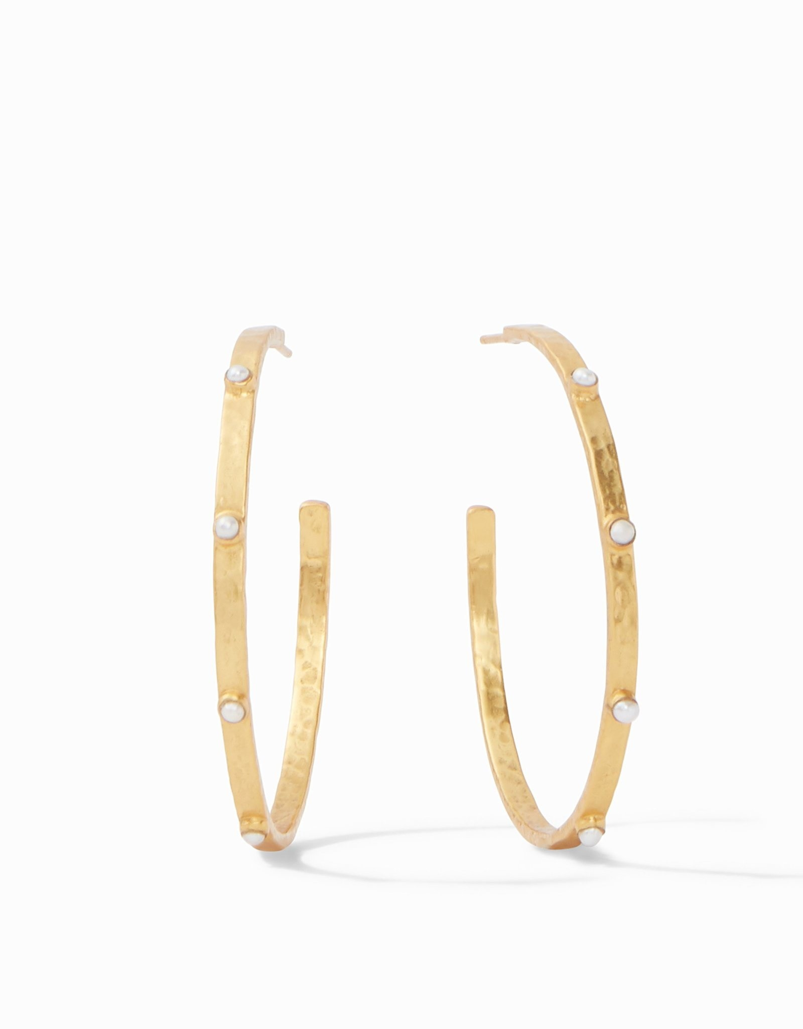 Julie Vos Crescent Stone Hoop Gold Pearl - Extra Large