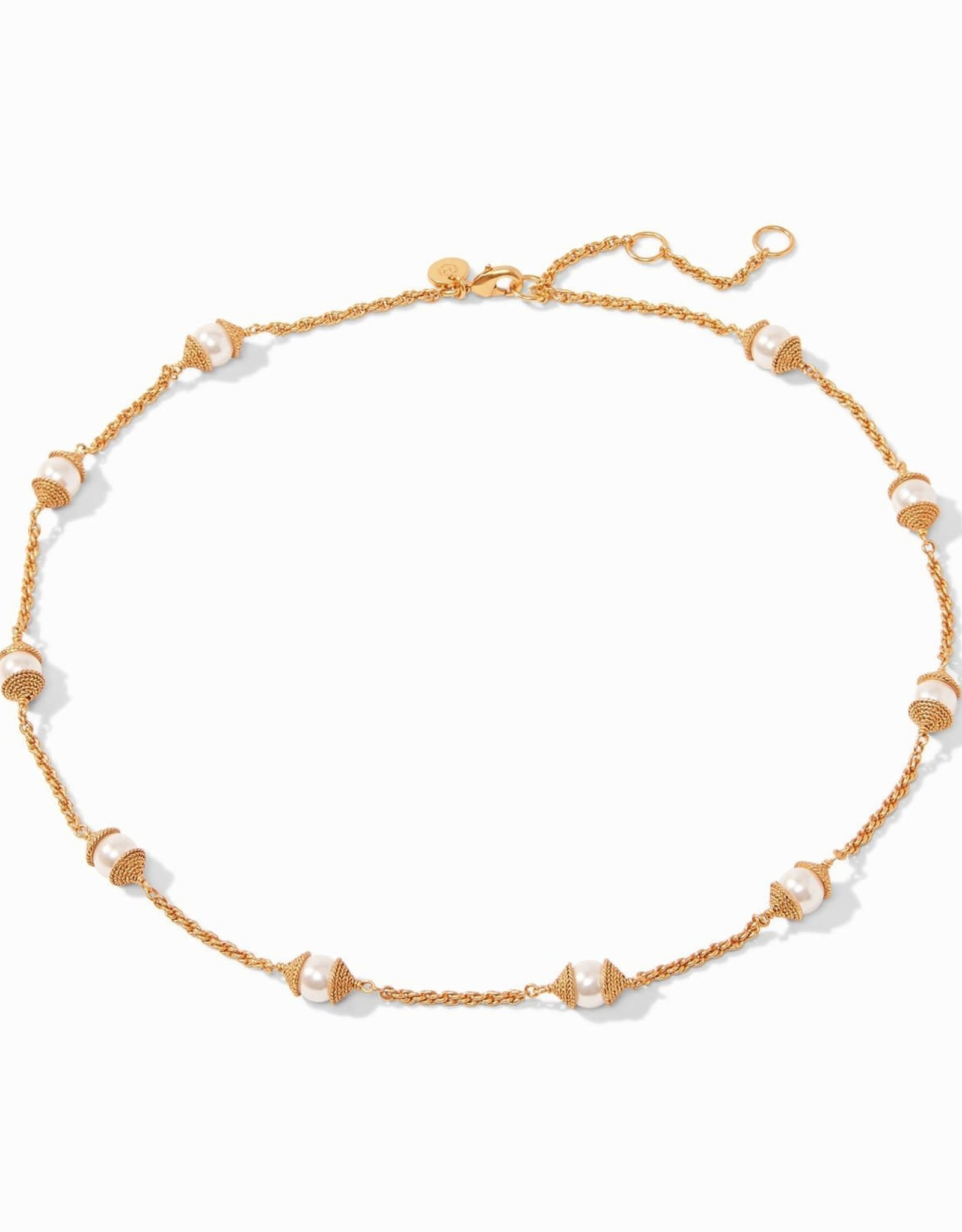Julie Vos Calypso Pearl Delicate Station Necklace Pearl