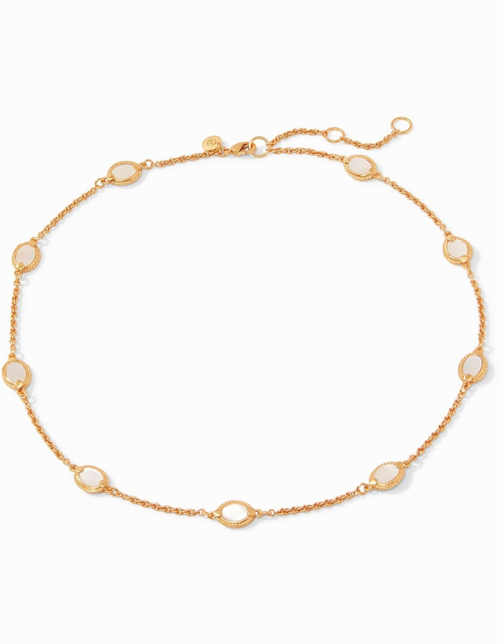 Julie Vos Calypso Demi Delicate Station Necklace Gold Mother of Pearl