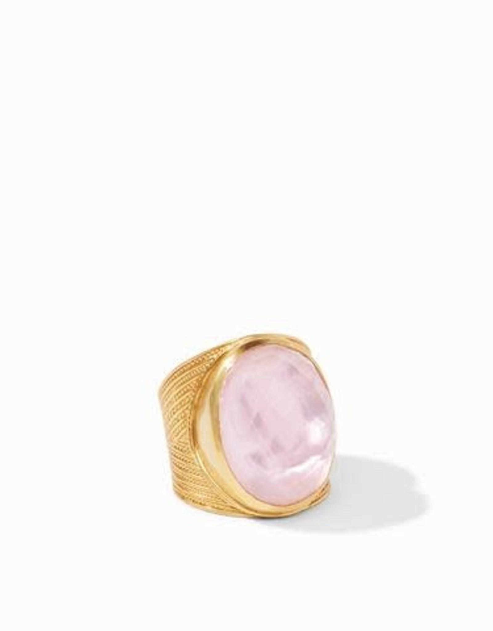 Julie Vos Verona Statement Ring Gold Iridescent Rose - Size 7 Adjustable