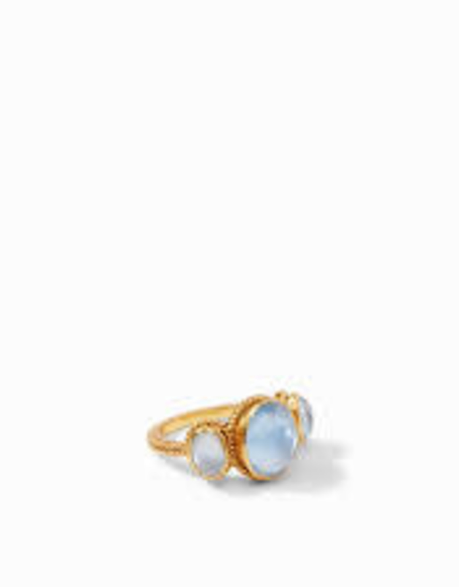 Julie Vos Calypso Ring Gold Iridescent Chalcedony Blue - Size 6