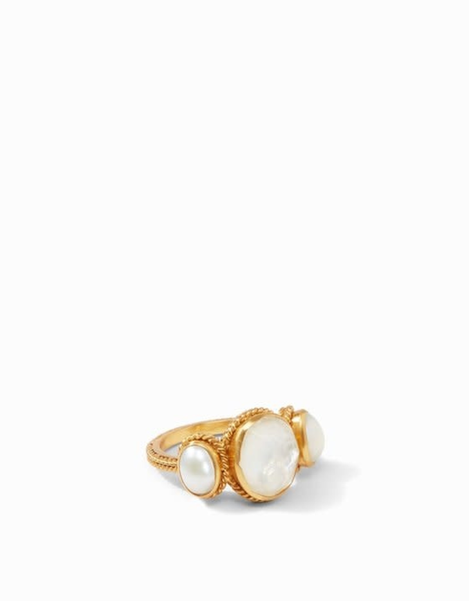Julie Vos Calypso Ring Gold Iridescent Clear Crystal Middle Stone with Pearl Side Stones - Size 6