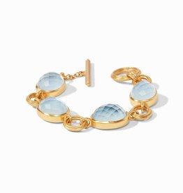 Julie Vos Barcelona Bracelet Gold Iridescent Chalcedony Blue