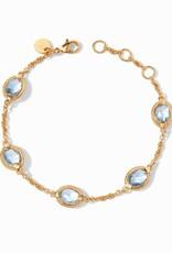 Julie Vos Calypso Delicate Bracelet Gold Chalcedony Blue