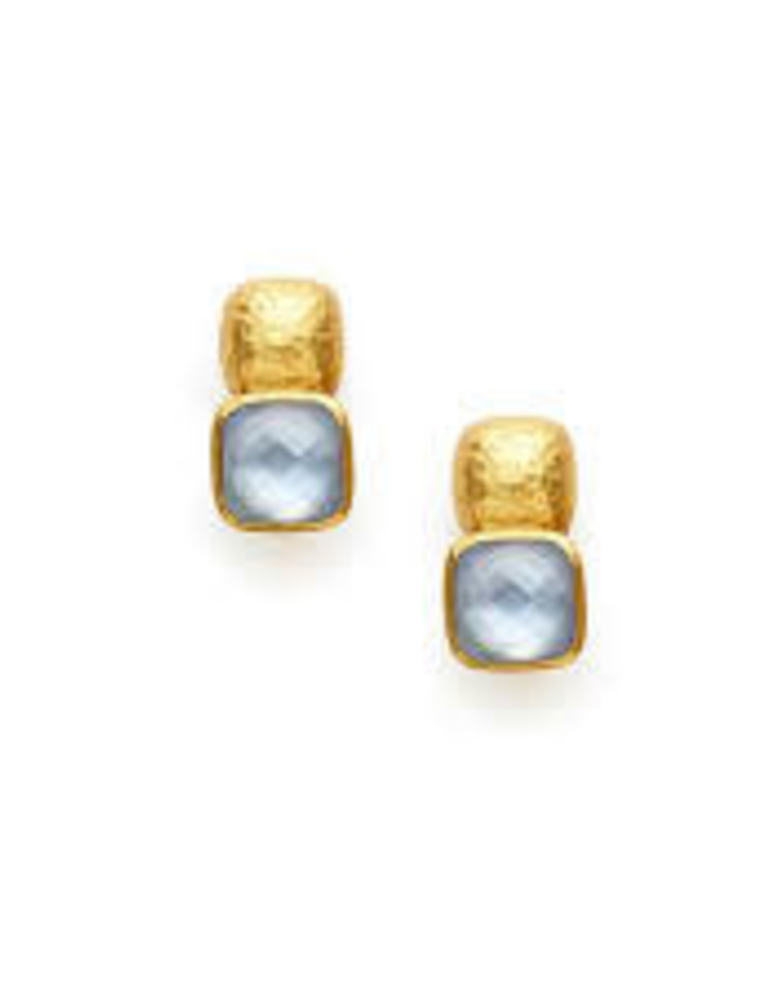 Julie Vos Catalina Earring Gold Iridescent Chalcedony Blue