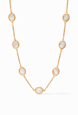 Julie Vos Calypso Delicate Station Necklace Gold Mother of Pearl 17-18-19 Inches