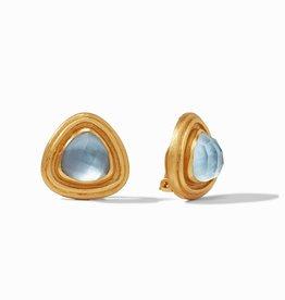 Julie Vos Barcelona Clip Earring - Iridescent Chalcedony Blue