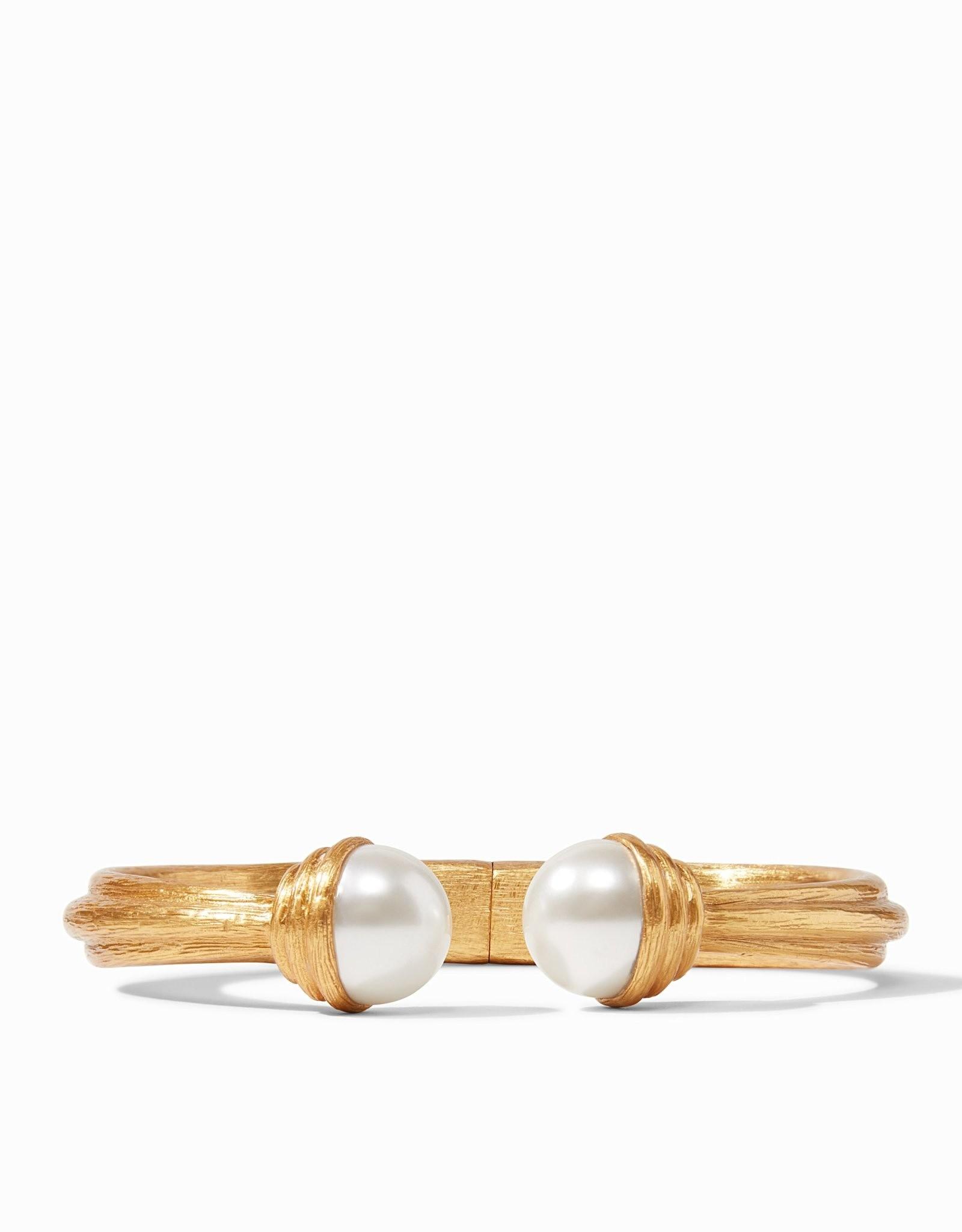 Julie Vos Barcelona Hinge Cuff Gold Pearl