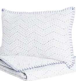 John Robshaw Pindi Lapis Stitched Blanket and Mini Sham