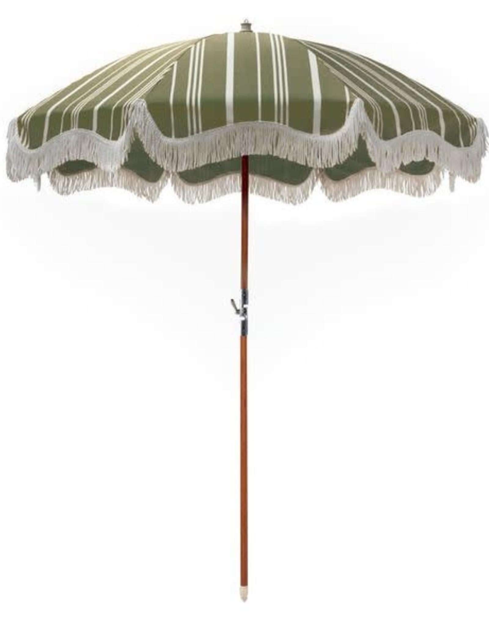Home Premium Beach Umbrella - Vintage Green Stripe