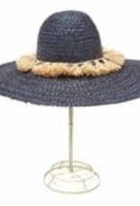 Gifts Paloma Sun Hat with Natural Tassesl in Navy