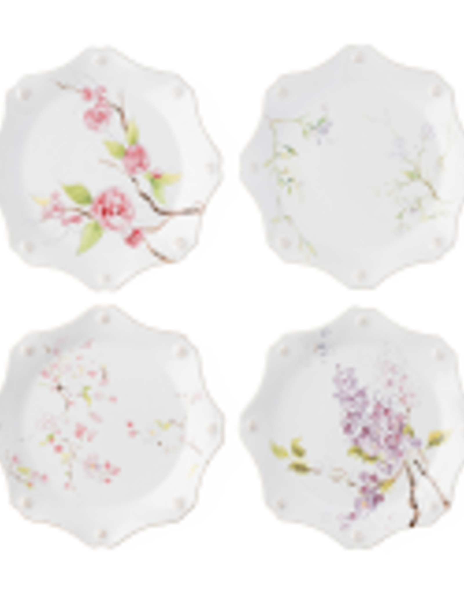 Juliska Berry & Thread Floral Sketch Set of 4 Dessert/Salad Plates