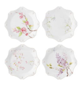 Juliska Berry & Thread Floral Sketch Set of 4 Dessert/Salad Plates