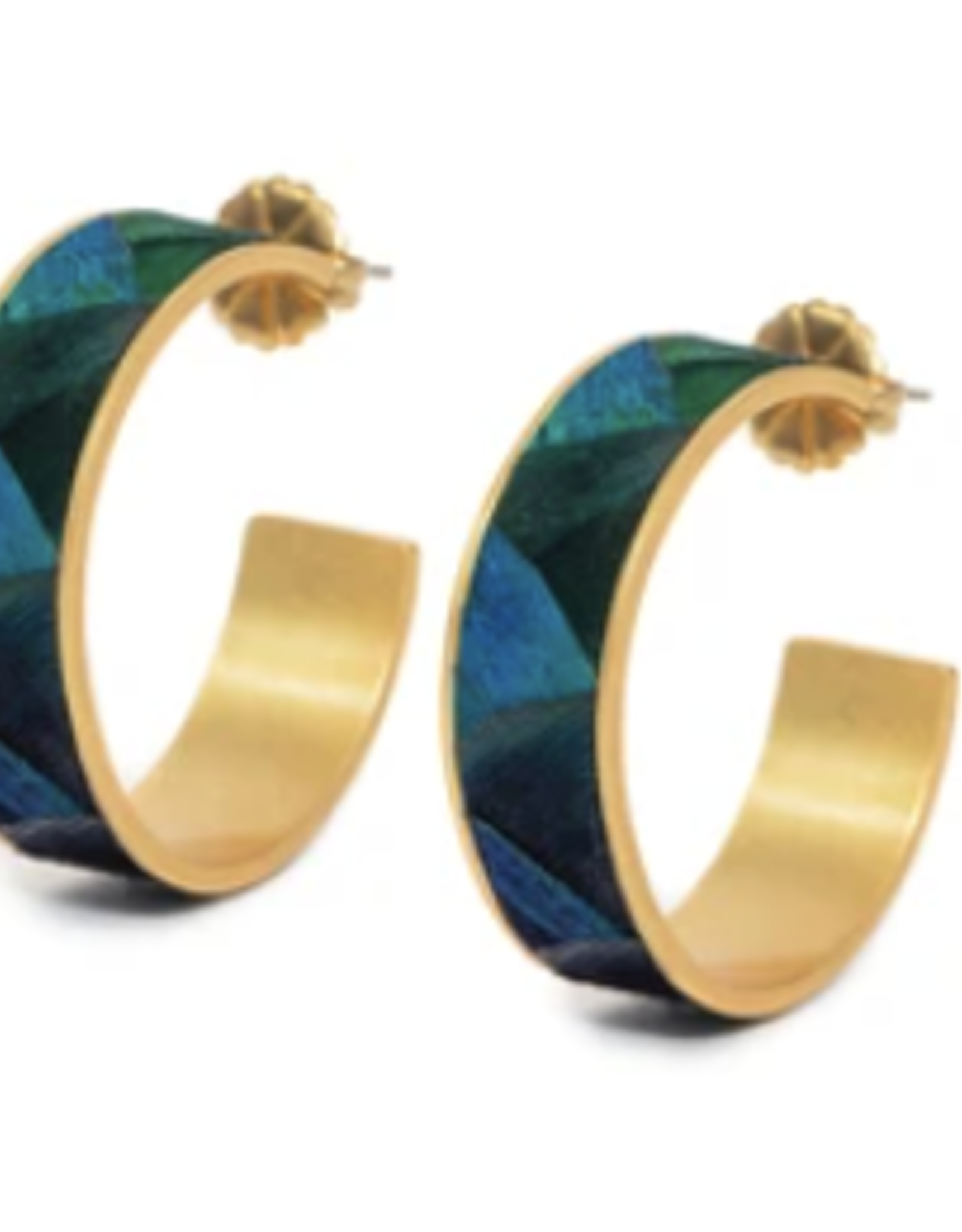 Brackish Stef Earrings - Peacock Feathers