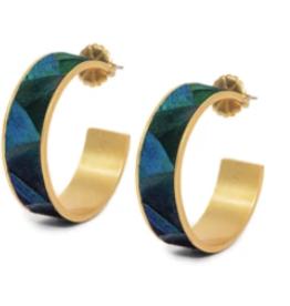 Brackish Stef Earrings - Peacock Feathers