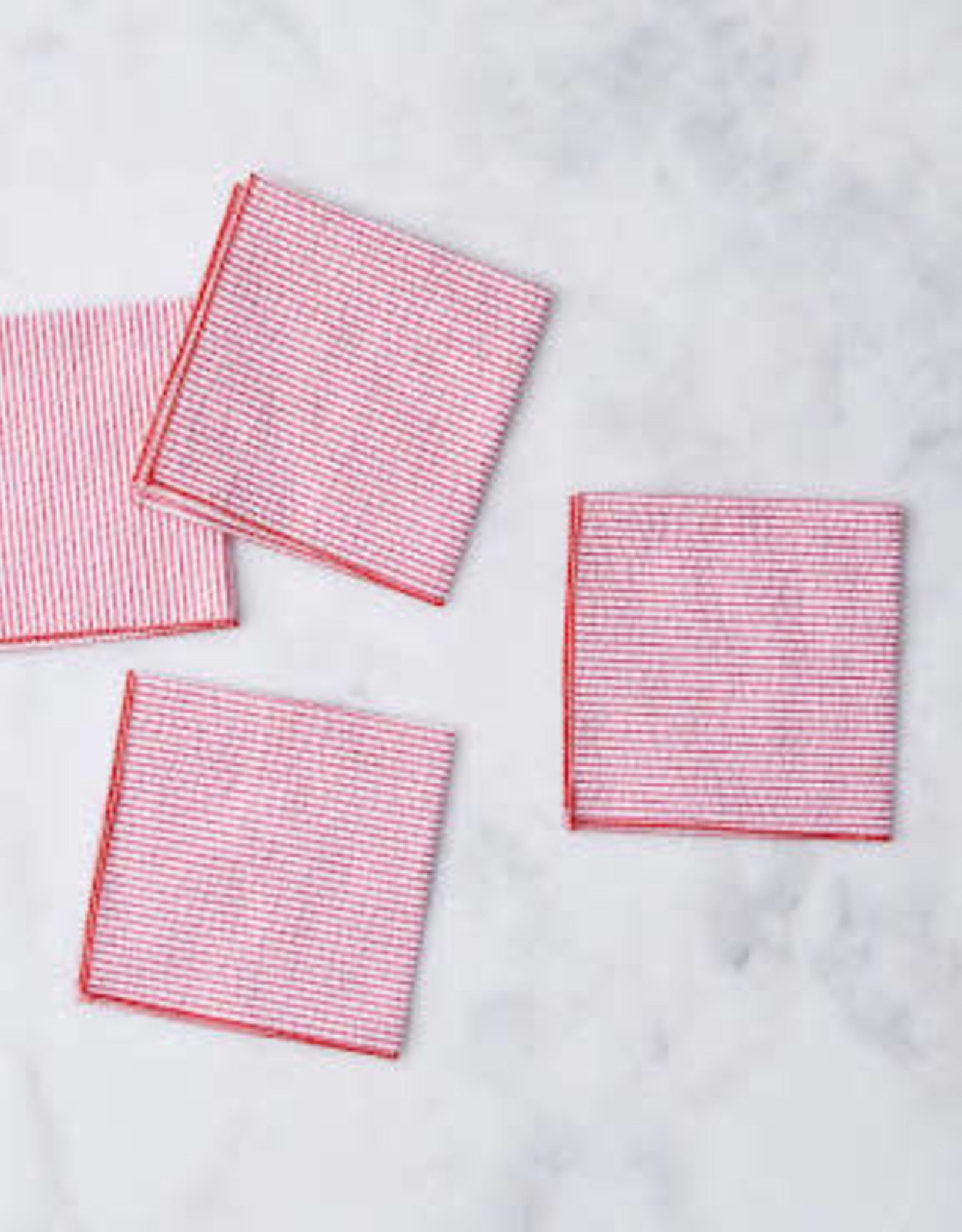 Dot and Army Seersucker Cocktail Napkins