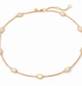 Julie Vos Calypso Demi Delicate Station Necklace Gold Chalcedony Blue
