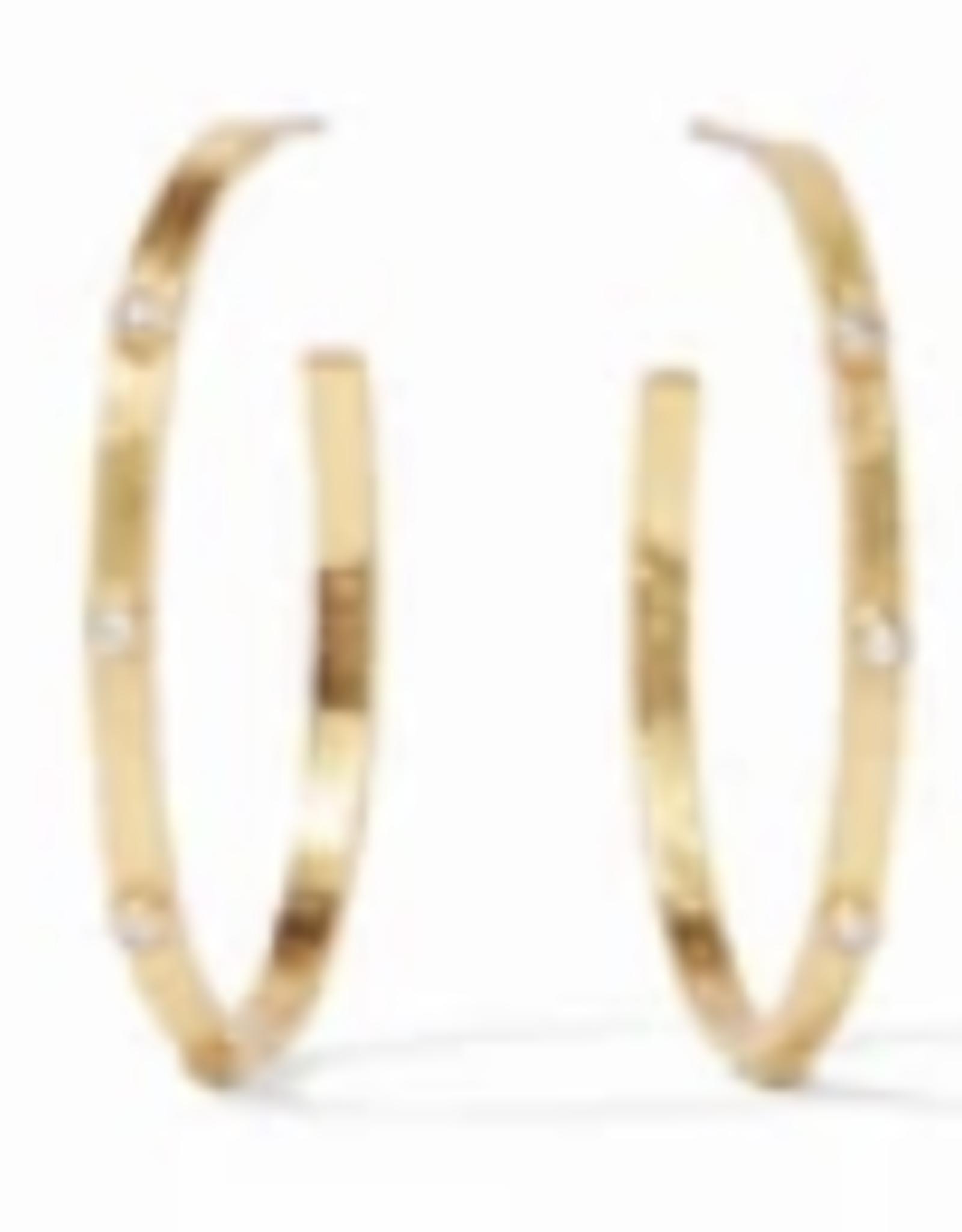 Julie Vos Crescent Hoop Gold Clear CZ - Large